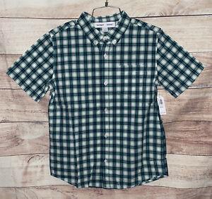 Old Navy Boys Button Down Shirt Size XL (14-16) Green Plaid Short Slvs NWT LBB76