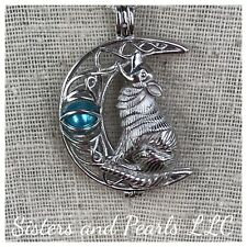 Moon Howling Wolf Sterling Silver Cage Pendant For Pearl Akoya Oyster 925 Nice