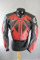 IXS BLACK, RED & SILVER LEATHER BIKER JACKET WITH REMOVABLE CE ARMOUR 36 INCH
