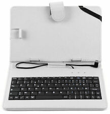 White Faux Leather AZERTY French Keyboard Case with Stylus for 7 Inch Tablets