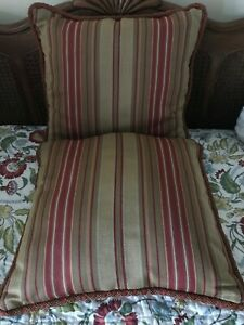 Decorative Pillows Set of 2 Red Gold Green Striped
