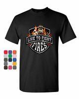 Live To Fight Fires T-Shirt Firefighter Volunteer FD Mens Tee Shirt