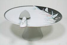 "Black Rhapsody Fine Porcelain 10.25"" Cake Plate with Server MIB"