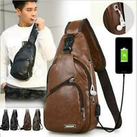 Mens Leather Shoulder Bag Sling Chest Pack Sports Crossbody Handbag USB Charging