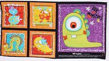 Halloween Eek Monsters Pillow Quilt Panel by Studio E Fabrics btp