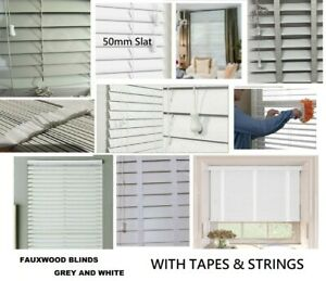 Faux wood Venetian Blinds Wooden Trimmable Window Blind 50mm Slat White and Grey