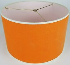 "NEW Drum Lamp Shade 15"" Dia 10"" H Solid Orange Fabric"