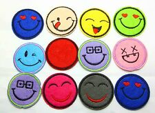 New 12pcs Color Smile Embroidered Applique Iron On Sew On Patch Mixed