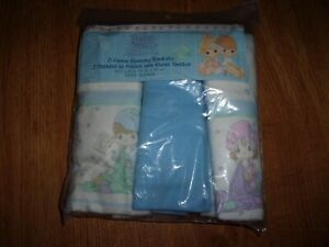 Precious Moments 3 Flannel Receiving Blankets NEW Baby 30 x 30 100% cotton