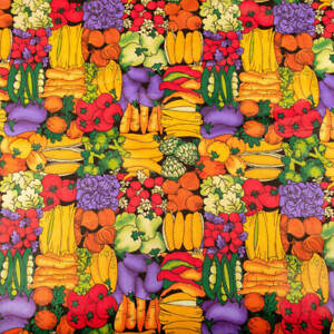 """Farmers Market Fabric Printed Cotton Ebony 60"""" wide Sold BTY"""
