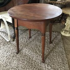 Vintage Solid Cherry Queen Anne Style Oval Side Table