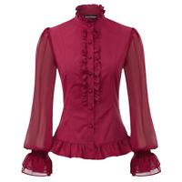 Women Stand Neck Top Retro Steampunk Victorian Gothic Lolita Button Shirt Blouse