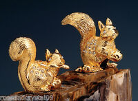 SQUIRREL FAMILY~24K GOLD PLATED FIGURINE ADORNED USING SWAROVSKI CRYSTAL ELEMENT