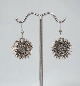 Vintage textured sterling silver bohemian sunflower drop dangle pierced earrings