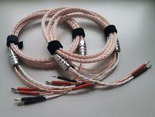 1Pair 8ft 8N OCC Bi Wire Speaker Cable HiFi Rhodium Banana 2 TO 4 Plug biwires