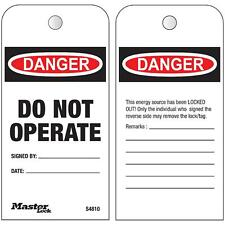 Master Lock Do Not Operate Lockout Tags Roll - 100 Box - USA BRAND