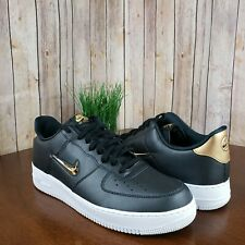 79cf3838 NEW Nike Air Force 1 07 LV8 Lthr black gold men's low-top leather sneakers