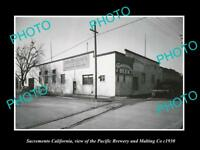 OLD LARGE HISTORIC PHOTO OF SACRAMENTO CALIFORNIA, THE PACIFIC BREWERY Co c1930