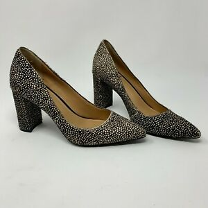 Banana Republic Madison 12 Hour Pumps Block Heel Calf Hair Spotted Brown Size 6