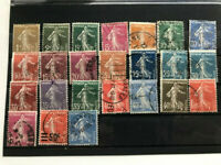 France, 1920 - 1939, Semeuses, Sowers, 24 used stamps VF no duplicates