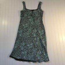 Womens Ann Taylor Loft Dress Blue Brown Paisley Spagetti Straps  Lined Size 6