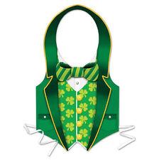 St Patricks Day Costume Mens Boys Green Suit Vest Shamrock Kit Irish Pats Paddys