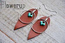 Lightweight real leather brown turquoise earrings, leaf teardrop boho earrings