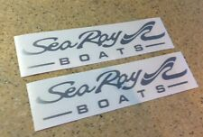 "Sea Ray Boat Decals Die-Cut 2-Pak Silver 9"" Die-Cut FREE SHIP + Free Fish Decal!"
