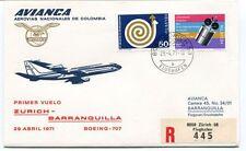 FFC 1971 Avianca Colombia Airlines First Flight Zurich Barranquilla REGISTERED