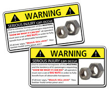 Funny MUSTANG NUTS Extreme Horsepower Warning Sticker GT 5.0 Decal Cobra Race