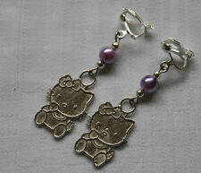 Handmade clip on earrings Hello Kitty silver plated purple glass pearl beads