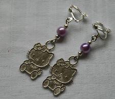 Handmade clip on earrings Hello Kitty silver plated purple glass pearl beads