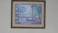 Framed ColorArt Crewel DOGWOOD TRAILS Forest Woods Nature Scene - JCA New 21x17