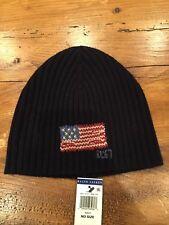 Ralph Lauren Polo USA American Flag Winter Beenie Ski Hat - Navy Blue NWT