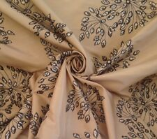 11 Metres 'Chandalier' Dandelion Clock Floral Faux Silk Curtain Fabric In Linen