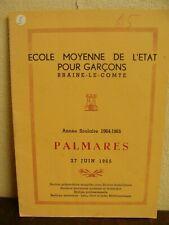 Palmarès Scolaire 1965 - Ecole Moyenne de l'Etat pour garçons - Braine-le-Comte