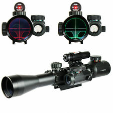 3-9X40 Illuminated Tactical Rifle Scope with Red Laser & Holographic Dot Sight A