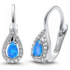 .925 Sterling Silver Earrings Blue Opal & Cubic Zirconia