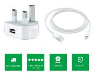 Genuine Apple iPhone Mains Charger & USB Data Cable For iPhone 6 7 8 X S 11 PLUS