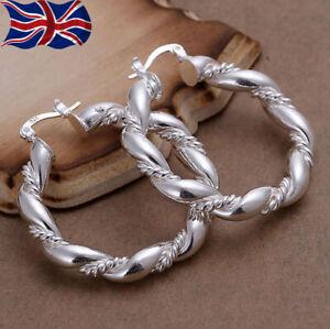 925 Sterling Silver Hoop Earrings Large Twisted Rope Chunky Round Uk Seller