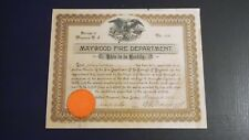1913 MAYWOOD FIRE DEPARTMENT Certificate NEW JERSEY  Ephemera Orig Raised SEAL!
