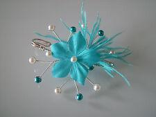 Attache/Remonte Traine/Broche Blanc/fleur p robe Mariée/Mariage Bleu Turquoise