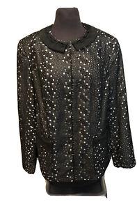 Tahari Blazer Jacket Black & White Eyelet Silk and Cotton Plus Sz 1X