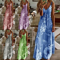 Womens Summer Floral Long Dress Ladies Boho Beach Holiday Maxi Dress Size S-5XL