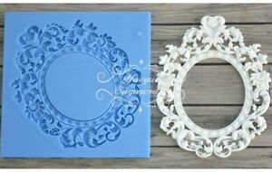 DIY Baroque Scroll Frame Silicone Mold Vintage Lace Border Relief Resin Fondant
