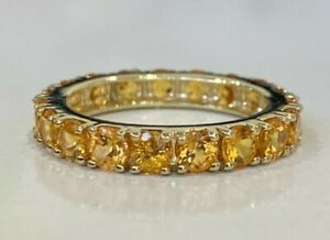 10CT Solid gold & Citrine full eternity band ring 3.65g size R 3/4 -  9