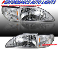 Set of Euro Clear Headlights w/ Corner Lights for 1994-1998 Ford Mustang