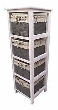Slim White Wood 4 Drawer Maize Basket Storage Cabinet Organiser For Bathroom