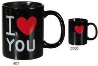 Black Mug I Love You Thermal effect Gift  Valentine's Heart Romantic Tea Coffee