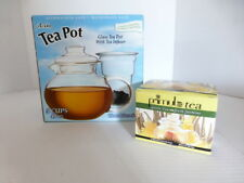 Primula Glass Tea Pot w/ Tea Infuser 3 Pc Set 40 oz- 5 Cup 12 Tea Flowers NIB